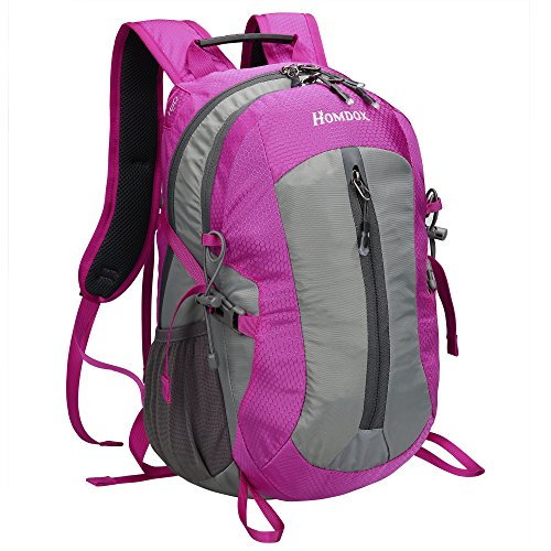 Unisexs Travel Hiking Backpack Waterproof Material (Rose red) - 4