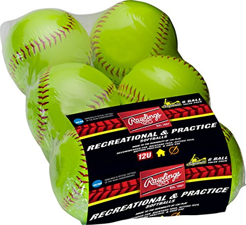 Rawlings Dura-Hyde Worth Cork Softballs, 6 Count