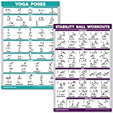 QuickFit Yoga Poses and Exercise Ball Workout Posters - Laminated 2 Chart Set - Yoga Positions and Stability Ball Routine - 18' x 27'
