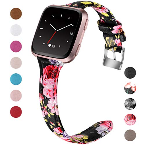Maledan for Fitbit Versa Bands Women Men Large Small, Slim Genuine Leather Band Accessories Replacement Strap for Fitbit Versa Smart Watch (Black/Pink Floral, Small Size: 4.8-6.5)