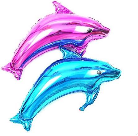 アルミ イルカ バルーン 大小 ペアー 2組セット ブルー & ピンク / 大型 中型