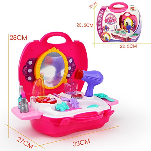 SZJJX Kids Pretend Food Play Kitchen Toys Set Role Play Plastic Portable Deluxe Simulation Kitchen Kits Playset with Working Desk Orange (Pink)