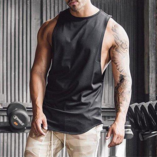 MODOQO Men's Tank Tops Fitness Sleeveless Cotton O-Neck T-Shirt Gym Vest(Black,L) by MODOQO (Image #4)