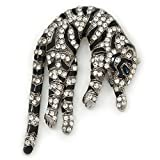 Oversized Stunning Black Enamel, Clear Austrian Crystal Panther Brooch/ Pendant In Silver Tone Finish - 10cm Length
