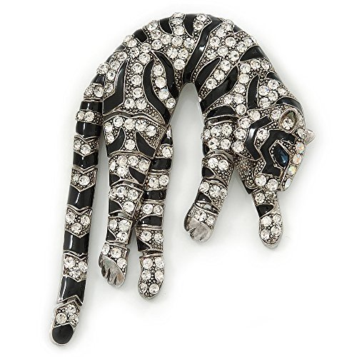 Oversized Stunning Black Enamel, Clear Austrian Crystal Panther Brooch/ Pendant In Silver Tone Finish - 10cm Length by Avalaya