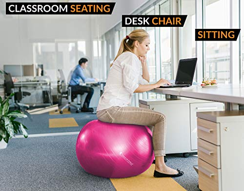 Exercise Ball for Yoga, Balance, Stability from SmarterLife - Fitness, Pilates, Birthing, Therapy, Office Ball Chair, Classroom Flexible Seating - Anti Burst, No Slip, Workout Guide (Fuchsia, 65 cm) by SmarterLife Products (Image #5)
