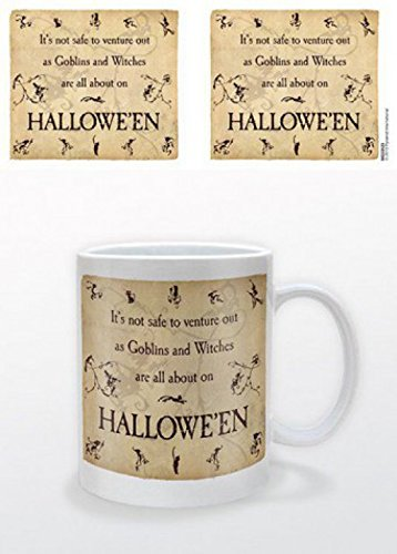 1art1 Set: Halloween, Goblins and Witches Photo Coffee Mug (4x3 inches) and 1x Surprise Sticker -