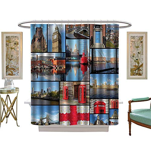 (YOYI Shower Curtains with Shower Hooks England Cityscape Red Telephe Booth Clock Tower Bridge River British Flag Satin Fabric Sets Bathroom)
