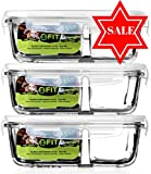 Glass Meal Prep Food Storage Containers with Lids (3 Pack) - 2 Compartment Containers + Vented Snap Locking Lids | Portion Control | Lunch Containers | Lunch Boxes | Bento Boxes | Leakproof