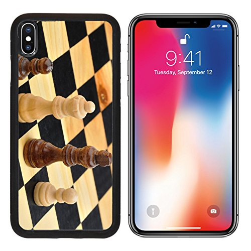 MSD Premium Apple iPhone X Aluminum Backplate Bumper Snap Case Chess figures king queen and two pawns as concept of interracial family IMAGE 35079854 (Board Edge Chess)