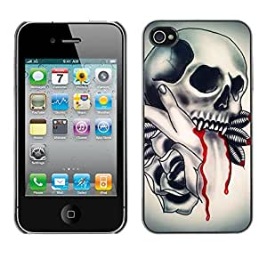 Planetar® ( Skull Vampire Blood Rose Feathers ) iPhone 4 / 4S Fundas Cover Cubre Hard Case Cover