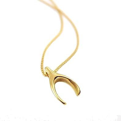 2169a5c6d7d1d URBAN SHe° 18K Gold vermeil 925 sterling silver lucky wishbone necklace  wish bone pendant Minimalist jewellery women fashion birthday gift
