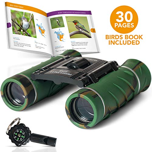 Aluminum Grade BINOCULARS FOR KIDS With BOOK And COMPASS | KIDS BINOCULARS With Clear Vision | Kids Explorer Kit With Whistle | Binoculars Kids For Both Boys And Girls | Toddler binoculars | Top Gift]()