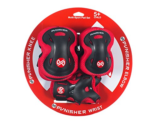 Punisher Skateboards Childrens Protective Pad set for Skateboarding, Elbow Knee and Wrist Pads, Size Small, Red, Ages 5+ -  9246
