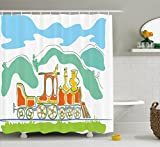 Ambesonne Steam Engine Shower Curtain Set, Colorful Small Old Train in Country Retro Kids Art Vintage Cartoon Print, Fabric Bathroom Decor with Hooks, 70 Inches, Green Blue Orange
