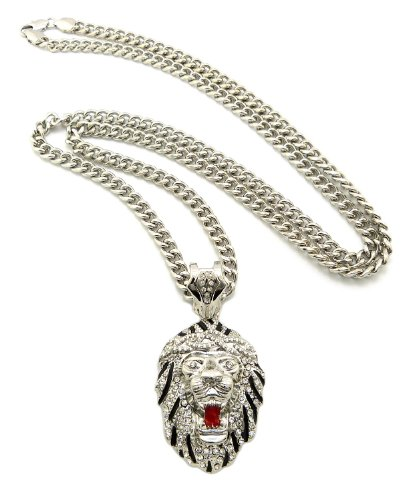 """Rappers' Iced Out Lion Head Pendant with 6mm 36"""" Cuban Link Chain Necklace, Clear/Silver-Tone"""
