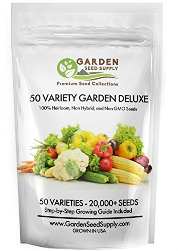 20,800+ Non GMO Heirloom Vegetable Garden Seeds 50 Varieties Herbs & Fruit Included - Easy to Grow Gardening +FREE Grow Guide - USA Family Farm Certified Seed Company- Portion of Purchase to Charity