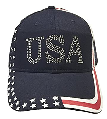 Navy Cap USA Donald Trump 45 President Inauguration Rhinestones
