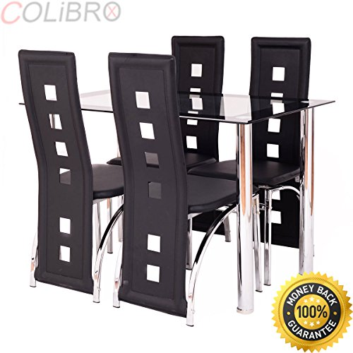 Wal Mart Desk Chair - COLIBROX--5 Piece Dining Set Glass Table and 4 Chairs Home Kitchen Breakfast Furniture New. dining room sets. glass top dining table set 4 chairs. 5 piece glass dinette set. dining room sets walmart.