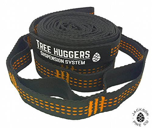 Jackson Pine Tree Huggers Hammock Straps- Superior Strength, 32 Adjustment Loops, Triple Stitched Reflective Tracers, Anti-Stretch and Tree Friendly, Tested to Hold 1000 Pounds (Orange)