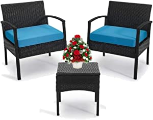 Outdoor Chairs Set Bistro Set 3 Pieces Patio Conversation Set Furniture Set for Small Balcony Rattan Chairs and Table with Cushions Blue