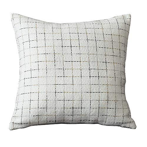 (Aslanishome Soft Solid Decorative Square Throw Pillow Covers Polyester Plaid Home Decoration Pillow Cases Square Cushion Case for Couch Sofa Bed Car Black,18 x 18 Inch White)
