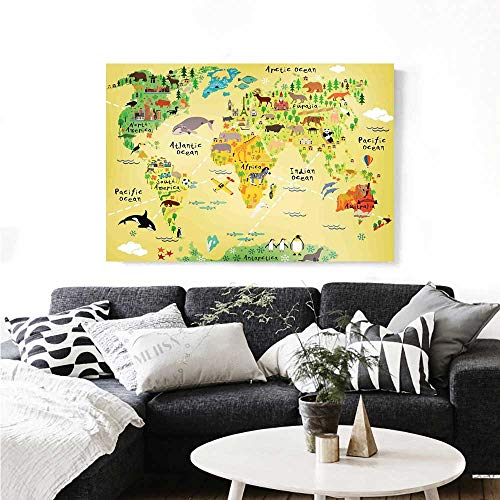 Kids Decor The Picture for Home Decoration Educational World Map Africa America Penguins Atlantic Pacific Ocean Animals Australia Panda Customizable Wall Stickers 32