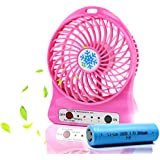 Haoerliang mini USB Table Desk Protable rechargeable fan with LED light, for Traveling, Fishing, Camping, Hiking(pink)