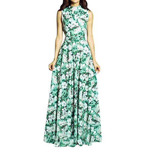 Cewtolkar Women Elegante Evening Dress Sleeveless Floral Printing Dress Square Collar Sexy Maxi Dress Cocktail Party Dress Green