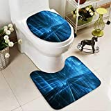 Analisahome Toilet carpet floor mat abstract business science or technology background 2 Piece Shower Mat set