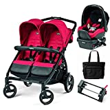 Peg Perego - Book for Two Mod Red Double Stroller Travel System with Diaper Bag