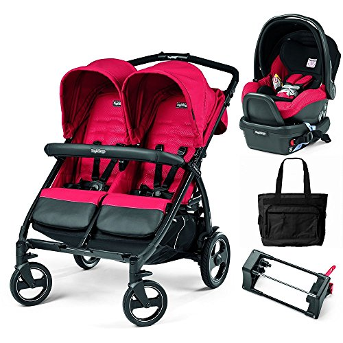 Peg Perego - Book for Two Mod Red Double Stroller Travel System with Diaper Bag by Peg Perego