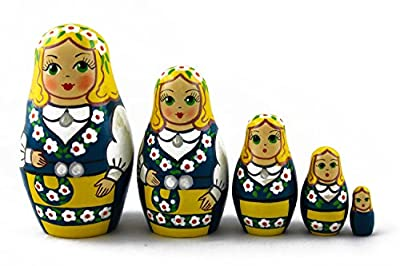 Matryoshka Babushka Russian Nesting Wooden Doll Swedish Folk National Clothing Babouska Matrioska Stacking 5 Pcs