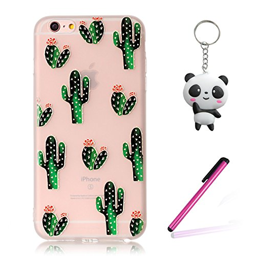 iPhone 8 Hülle,3D Blühender Kaktus Premium Handy Tasche Schutz Transparent Schale Für Apple iPhone 8 + Zwei Geschenk