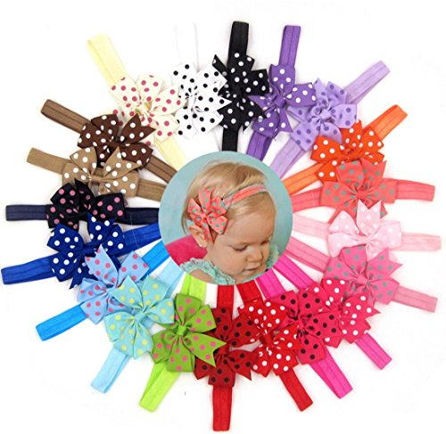 [WINCAN Baby Girls Boutique Wave Colorful Hair Flower Headbands Elastic Hair Bands Pack Of 20 (Wave)] (Indian Mens Braid Adult Wig)