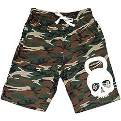 Men's Kettlebell Skull V119 Camo Fleece Jogger Sweatpant Gym Shorts X-Large Black