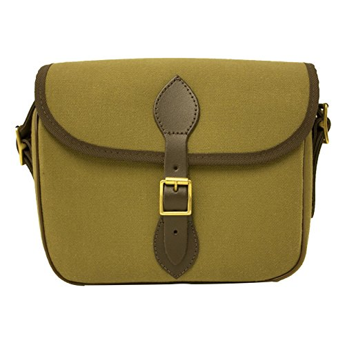 BISLEY quickload cartridge bag 100 capacity Green canvas with hinged leather