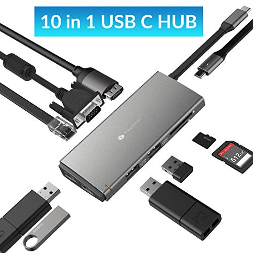 USB C Hub Adapter for MacBook Pro 2019 / MacBook 2018, Keychron 10 in 1 Thunderbolt 3 Type C Hub with 4K HDMI/Ethernet Port / 4 USB 3.0 Ports / 1080P VGA/SD/TF Card Reader/Power Fast Delivery ()