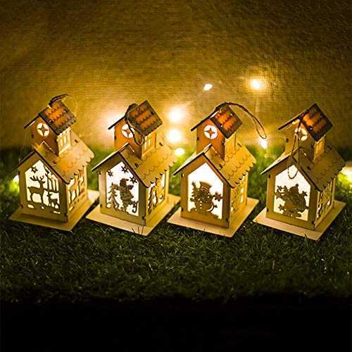 - Iusun Christmas Ornaments Chalet LED Light, Wooden Dolls Villa Hotel Bar Xmas LED Light Tree Hanging Decor (3.5X4.7X3.1inch, A2)