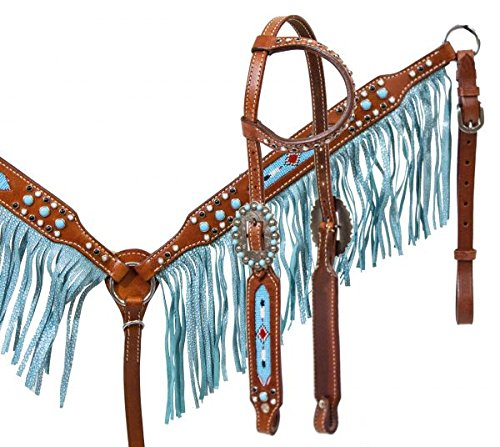 (Showman Horse Bridle, Breast Collar,and Split Reins Set with Beaded Inlay and Turquoise Sting Ray Print Fringe)