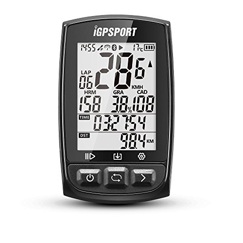 GPS Bike Computer Big Screen with ANT+ Function iGPSPORT iGS50E Cycle Computer Support Heart Rate Monitor and Speed Cadence Sensor Connection – Black
