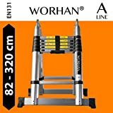 WORHAN 3.2m (10' 5'') Double Telescopic Foldable Extendable Multipurpose Aluminium A Frame Robust Ladder Step Ladder (....3.2m A-line) K3.2A