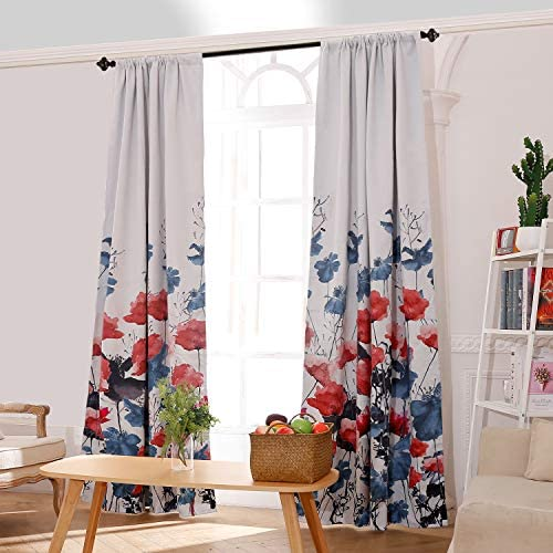 JCHORNOR Blue and Coral Floral Design Curtain Window, Flower Pattern Shade Light Drapes for Living Decoration Room Bedroom, Set of 2 Panel, 95 H x 52 W