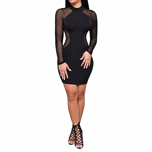3d1d53be8a2df Minisoya Women Bodycon Dress Long Sleeve Evening Party Club See Through Mesh  Sheer Mini Pencil Dress