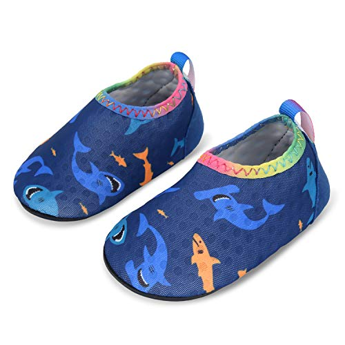 L-RUN Toddler Baby Boys Girls Aqua Socks for Beach Sand Shark 0-6 - Slip Performance Sport