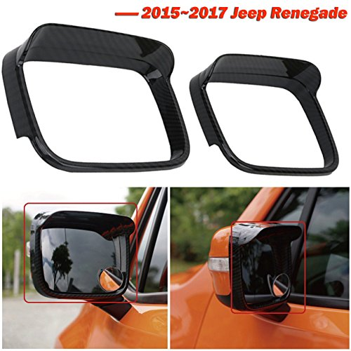 buyinhouse 1pair Rearview Eyebrow Frame – for 2015-2017 Jeep Renegade – Carbon Black Rearview Mirror Rain Eyebrow Covers