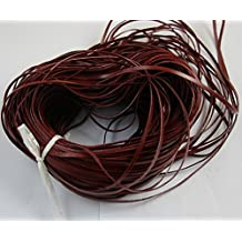 WellieSTR Genuine Cow Lace 3x1mm 25 yards Flat Leather Lacing Leathercraft- Red Brown Color/Craft Lace Leather Flat Cord DIY Rope Strings Bracelet Tangerine