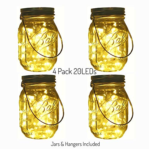 Decem Solar Mason Jar Lights, 4 Pack 20 LED Warm White Fairy Firefly String Lights, Build-in Glass Mason Jars for Patio Garden Party Wedding Christmas Decorative Lighting Fit for Regular Mouth Jars]()