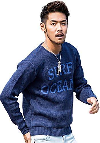 メンズ サーフ ロゴ プリント 長袖 ニットソー (セーター トップス インナー)