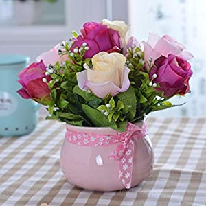 XHOPOS HOME Artificial Plants Artificial Flowers Purple Rose Pink Ceramic Vases Floral Arrangements Home Room Office Decorative Accessories 96